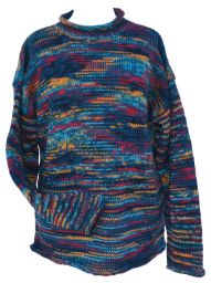 Pure new wool - hand knit jumper - electric teal