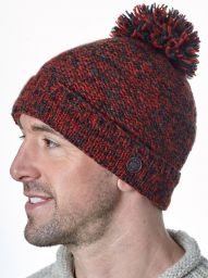 Two tone bobble hat - turn up - pure wool - fleece lining - dark spice / charcoal