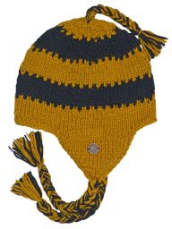 Pure wool - half fleece lined - stripes - Mustard and black