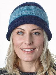 Thin stripes beanie - pure wool - fleece lined - dark Blue