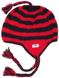 Pure wool - half fleece lined - stripes - Red and Black