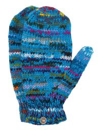 Fleece lined mittens - Electric - Turquoise