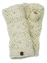 Fleece lined wristwarmer - sparkle crochet - White