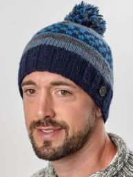 Pattern bobble hat - hand knitted - blues