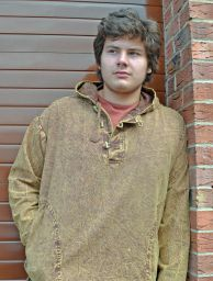 Stonewashed overshirt with toggles - Brown