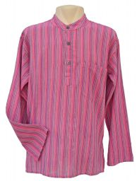 Light weight - Striped Cotton Shirt - Pink