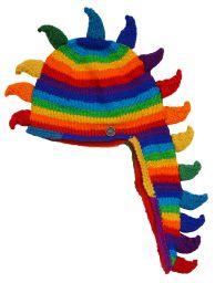 Hand knit - dino stripes - Rainbow/Rainbow