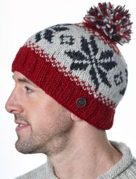 Snowflake bobble hat - pure wool - fleece lining - deep red / natural