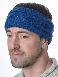 Pure wool - diamond cable headband - blue pepper