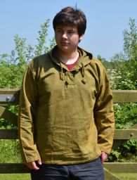 Stonewashed overshirt with toggles - Green