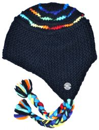Snowboarder - Black with rainbow striped soft wool