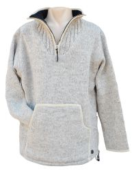 Fleece lined - pure wool pull on - Light Grey
