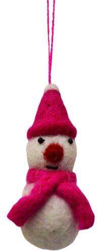 Felt - Christmas Decoration - Snowman - Pink