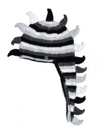 Dino hat - pure wool - hand knitted - fleece lining - grey stripes