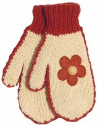 Fleece lined mittens - Felt Flower - Cream/Rust