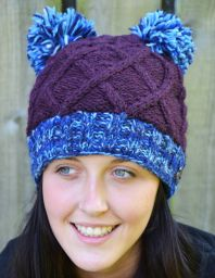 Two pom cable hat - pure wool - hand knitted - purple blue