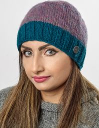 Pink Heather mix - contrast edge beanie - Teal pacific border
