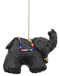 Felt - Christmas Decoration - Elephant - Grey