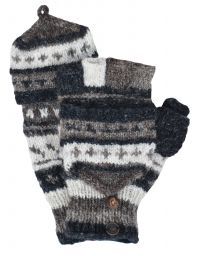 hand knit - pattern mitts - greys