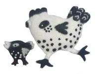 Hen and chick - Felt Cushions - black/white