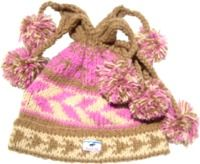 four bobble - tie top tun up hat - Pink/Biscuit
