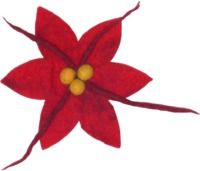 Large Poinsettia brooch - red