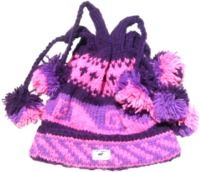 four bobble - tie top turn up hat - Purples/Pink