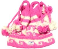 four bobble - tie top turn up hat - Pink/White