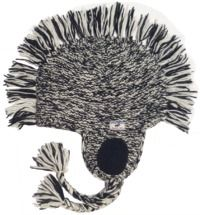 half fleece lined - medallion mane ear flap - White/Black