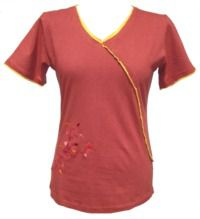 ***SALE*** - Embroidered - cross over T-shirt - terracotta