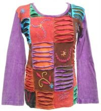Cut' and Embroidered - Patchwork Top - Purple