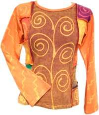 Swirl Pattern - Long Sleeve Top - Orange