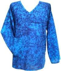 Crackle Dyed Top - Blue