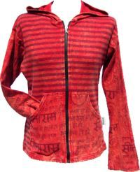 ***SALE*** - Stonewashed - Striped Pixie Hood Jacket - Red