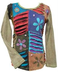 'Cut' and Applique Flower - Patchwork Top - Soft Green