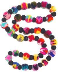 Felt necklace - multi coloured swirls with black dividers