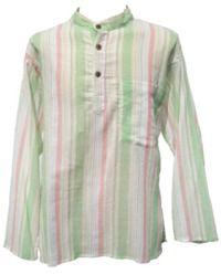 Fine White Striped Shirt - Green