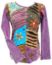 'Cut' and Applique Flower - Patchwork Top - Purple