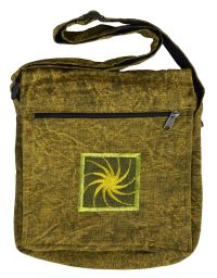 Stonewashed - motif multi zipped bag - green