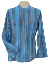 Light weight - Striped Cotton Shirt - Blue/coral