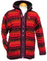 Fleece lined - patterned hooded jacket - Red/Rust
