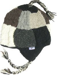 Patchwork ear flap hat - pure wool - hand knitted - fleece lining - grey / natural