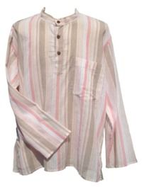 Fine White Striped Shirt - Pink