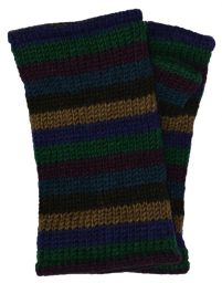 Children's Fleece lined - stripes - wristwarmers - Green multi