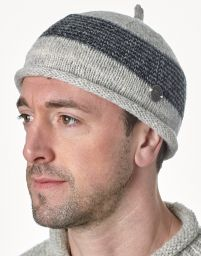 Half fleece lined - pure wool - pippet beanie - Pale grey/Charcoal