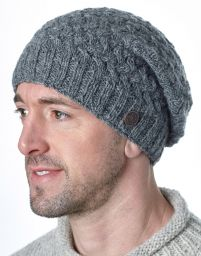 Pure Wool - Weave Baggy Beanie - Mid Grey