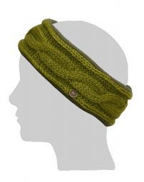 Fleece lined headband - cable - Moss green