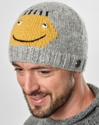 Face beanie - pure wool - hand knitted - fleece lining - Sonny
