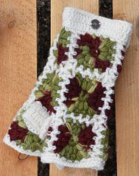 Fleece lined wristwarmer - crochet squares - white/autumn