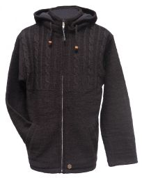 detachable hood - half cabled jacket - Chocolate